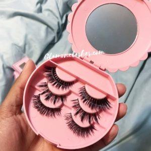 3 Mink Lashes + Pink Bow False Eyelash Storage Case
